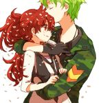1girl dandruff flaky flippy gloves green_hair happy_tree_friends hug long_hair lowres military military_uniform personification ponytail red_eyes red_hair redhead short_hair uniform yy888s