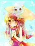1girl amamiya_kabosu bare_shoulders beanie blue_hair castform hair_ornament hairclip hat hikari_(pokemon) lowres pokemon pokemon_(creature) scarf umbrella