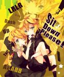 1girl ana_(rznuscrf) blonde_hair brother_and_sister chair controller fur_collar hair_ornament hairclip headphones headphones_around_neck kagamine_len kagamine_rin nes project_diva project_diva_f remote_control rimocon_(vocaloid) short_hair siblings smile twins vocaloid wink
