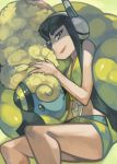 black_eyes black_hair blue_eyes eric_muentes headphones kamitsure_(pokemon) long_hair lying mareep midriff nail_polish on_side pokemon pokemon_(game) pokemon_bw2 sheep
