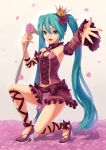 crown fkey flower hair_flower hair_ornament hatsune_miku high_heels highres long_hair microphone nail_polish outstretched_arms petals project_diva project_diva_2nd ribbon romeo_to_cinderella_(vocaloid) rose shoes solo vocaloid