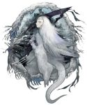 dark_souls fur horns ice long_hair maruco priscilla_the_crossbreed scythe solo tail white_hair yellow_eyes