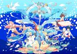 4girls animal aqua_eyes aqua_hair ball beachball bear bird blonde_hair blue_eyes blue_hair brown_eyes brown_hair chamooi coral_reef crab crustacean dolphin eel fish flippers flying_fish hat hatsune_miku highres jellyfish kagamine_len kagamine_rin kaito long_hair looking_at_viewer manta_ray megurine_luka meiko mermaid monster_girl multiple_boys multiple_girls octopus open_mouth pelican penguin piano_keys polar_bear sailor_hat seagull seahorse seal shark short_hair shrimp skirt smile squid sunfish takoluka turtle twintails umbrella very_long_hair vocaloid walrus water whale_shark