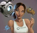 1girl aperture_laboratories bare_shoulders black_hair blue_eyes breasts chell daniel_macgregor glados lips nose portal portal_2 potato signature smile tan tank_top wheatley
