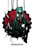 arisaka_ako boots dress elbow_gloves gloves green_eyes green_hair hairband hatsune_miku highres long_hair sitting solo thigh-highs thighhighs torn_clothes twintails very_long_hair vocaloid