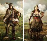 anesaki_dynamic belt fantasy female fur gun landscape male musket original