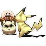 balloon cat_ears green_eyes hoshi_no_kirby jigglypuff kirby kirby_(series) koki_(pixiv) leaning_forward mouse nintendo no_humans pikachu pink_puff_ball pokemon super_smash_bros. super_smash_bros_64 tail tongue