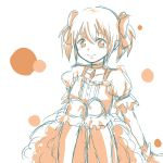 1girl blush choker dress gloves hair_ribbon kaname_madoka kneehighs mahou_shoujo_madoka_magica monochrome puffy_sleeves ren0422 ribbon short_hair short_sleeves short_twintails skirt smile solo twintails
