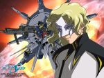 blonde_hair explosion gundam_seed mask mecha moon providence_gundam rau_le_creuset space uniform zaft