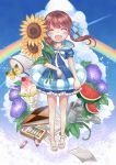 bad_id bow butterfly closed_eyes cloud clouds crayon flower food fruit hair_bow legs original rainbow sandals smile solo standing sunflower twintails wasabi_(artist) wasabi_(sekai) watering_can watermelon