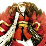 bare_shoulders brown_hair closed_eyes happy japanese_clothes kawazu kimono mutation original redhead sengoku_youko shakugan short_kimono smile solo twintails