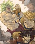 broly clenched_hand clone constricted_pupils dragon_ball dragon_ball_z dragonball dragonball_z dual_persona male multiple_boys muscle nitako scared shirtless son_goku son_gokuu spiked_hair super_saiyan turn_pale wall you_gonna_get_raped