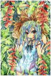 aqua_hair bird blush brown_eyes dress emperpep flower gradient_hair hat heliconia jungle long_hair minidress multicolored_hair nature red_eyes ribbon sleeveless solo straw_hat toucan traditional_media watercolor_(medium)