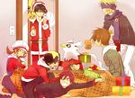 blonde_hair brown_eyes brown_hair chikorita christmas closed_eyes delibird eevee everyone gift gold_(pokemon) gold_(pokemon)_(remake) hat hat_ribbon kotatsu kotone_(pokemon) kuronomine matsuba_(pokemon) multiple_boys ookido_green ookido_green_(hgss) pikachu pokemon pokemon_(game) pokemon_gsc red_(pokemon) red_(pokemon)_(classic) red_hair red_ribbon ribbon santa_costume scarf silver_(pokemon) silver_(pokemon)_(remake) table