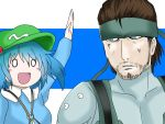 1boy 1girl arm_up bandana blue_eyes blue_hair brown_hair hat headband hopeless_masquerade kawashiro_nitori metal_gear_solid o_o solid_snake touhou twintails