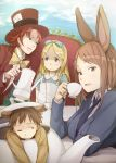 2girls alice_(wonderland) alice_in_wonderland animal_ears apron blonde_hair blue_eyes bow brown_eyes brown_hair bunny_ears chair character_request cup hairband hat holding in_container kamera-ya kettle long_hair mad_hatter multiple_boys multiple_girls necktie pouring rabbit_ears red_eyes sitting teacup top_hat wink