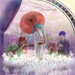 3girls aqua_eyes aqua_hair blonde_hair blue_eyes blue_hair cherry_blossoms curtains hair_ribbon hatsune_miku instrument japanese_clothes kagamine_len kagamine_rin kaito kimono long_hair megurine_luka multiple_boys multiple_girls oriental_umbrella petals pink_hair pinwheel playing_instrument ribbon senbon-zakura_(vocaloid) shamisen short_hair tico_kuma twintails umbrella vocaloid