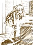 bathroom bent_over blazer blush embarrassed hairdressing highres monochrome mouth_hold neon_genesis_evangelion plaid plaid_skirt sink sketch skirt soryu_asuka_langley souryuu_asuka_langley surprised yakumoreo