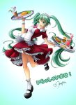alternate_costume apron aqua_eyes breasts cake dress drink enmaided food frilled_dress frills green_hair hamburger hatsune_miku highres hot_dog impossible_clothes leaning_back long_hair maguro88 maid maid_headdress mary_janes omelet shoes smile socks solo tray twintails very_long_hair vocaloid