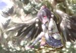 black_hair black_legwear black_wings chin_rest hat highres in_tree kneehighs large_wings pom_pom_(clothes) red_eyes shameimaru_aya shunsuke sitting sitting_in_tree skirt smile solo sunbeam sunlight tokin_hat touhou tree tree_shade wings