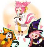 2girls animal_ears blazblue blush_stickers candy cat cat_ears cat_tail closed_eyes eyepatch eyes_closed family father_and_daughter hair_over_one_eye happy hat heart hood jerun jnrghzrg jubei_(blazblue) kokonoe konoe_a_mercury lollipop long_hair mother_and_daughter multiple_girls multiple_tails oversized_clothes pink_hair short_twintails tail twintails witch_hat yellow_eyes young