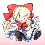 apron blue_dress bow capelet chibi dress frilled_dress frills hair_bow long_hair long_sleeves nogisaka_kushio open_mouth outstretched_arms outstretched_hand shanghai shanghai_doll smile solo touhou waist_apron |_|