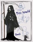 blue_eyes cape cat chibi_inset death_(discworld) death_of_rats discworld food frying_pan hood rat_tail ruruku_z scythe skull snout sword tail weapon
