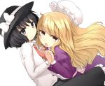 :o black_eyes black_hair blonde_hair hand_holding hat hat_removed hat_ribbon headwear_removed holding_hands hota long_hair maribel_hearn multiple_girls necktie ribbon shirt short_hair simple_background touhou usami_renko white_background white_shirt yellow_eyes
