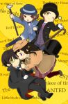 2girls black_hair brown_eyes brown_hair cane chibi chitanda_eru cosplay detective english formal fukube_satoshi green_eyes hat hyouka ibara_mayaka kimi_ni_matsuwaru_mystery long_hair monocle multiple_boys multiple_girls oreki_houtarou purple_eyes red_eyes shifumi short_hair suit top_hat violet_eyes