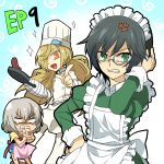alternate_costume anger_vein angry apron background_text binbougami_ga! black_hair blonde_hair cast chef_hat chibi cooking food frying_pan green_eyes hair_over_one_eye hand_on_head hand_on_hip hat kuroyuri long_hair maid maid_headdress messy_hair momiji_(binbougami_ga!) monocle multiple_girls open_mouth pizza rex_k sakura_ichiko short_hair skillet smile standing toque_blanche
