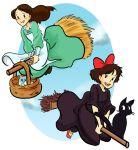 apron black_cat broom broom_riding brown_eyes brown_hair cat crossover discworld dress jiji_(majo_no_takkyuubin) kiki lindbloem long_hair majo_no_takkyuubin multiple_girls short_hair smile tiffany_aching witch you_(discworld)