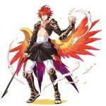 1boy boots frown kyousaku male mygrimoire original pants redhead sarashi shirtless smoke solo spiky_hair sword waka-sama_(mygrimoire) weapon white_background wings