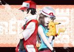 1boy 1girl aqua_eyes bare_shoulders belt black_hair blue_(pokemon) brown_hair character_name closed_eyes creature crossed_arms hat highres hikarra looking_at_viewer looking_away pikachu pokemon pokemon_(creature) pokemon_(game) pokemon_frlg pokemon_rgby porkpie_hat red_(pokemon) red_(pokemon)_(classic) red_eyes tongue tongue_out wristband