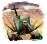 detached_sleeves grave haru_(oomr005) hatsune_miku highres sitting solo tombstone vocaloid
