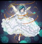 air_gear androgynous aqua_eyes aqua_hair barefoot blush cross crossdress crossdressing dress eyepatch letterboxed male outstretched_arm ribbon smile solo soramu trap wanijima_akito wedding_dress wings