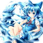 1girl akaikonomi blue_eyes blue_hair bow cirno crossed_legs_(lying) dress eating grin hair_bow ice ice_wings looking_at_viewer popsicle puffy_short_sleeves puffy_sleeves reclining ribbon short_hair short_sleeves simple_background smile solo touhou water white_background wings