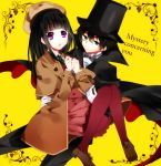 1girl black_hair brown_hair cane cape chitanda_eru cosplay detective english formal green_eyes hat hyouka kimi_ni_matsuwaru_mystery long_hair lotton monocle oreki_houtarou pantyhose purple_eyes short_hair suit top_hat violet_eyes