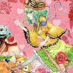 boots cake carnation cherry eating flower food food_as_clothes food_themed_clothes frills fruit green_eyes green_hair h_sakray heart heart_of_string ice_cream komeiji_koishi open_mouth pastry pocky sakurai_haruto skirt solo spoon sprinkles striped striped_legwear third_eye touhou vertical-striped_legwear vertical_stripes waffle whipped_cream wide_sleeves