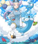 1girl altaria aviator_cap bagon blue_sky chimecho cloud clouds flight_goggles flying gloves goggles great_ball hat holding holding_poke_ball jumpluff light_smile nagi_(pokemon) natu poke_ball pokemoa pokemon pokemon_(creature) pokemon_(game) pokemon_rse purple_eyes purple_hair riding sitting sitting_on_animal sky straddle swablu swellow wingull
