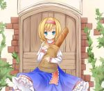 1girl alice_margatroid bag blonde_hair blue_eyes bread capelet food hairband paper_bag ribbon short_hair skirt solo touhou yuuhagi_(amaretto-no-natsu)
