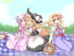 3girls alice_margatroid basket blonde_hair blue_eyes book bow braid capelet crescent dress eating food grass hair_bow hairband hat kirisame_marisa long_hair multiple_girls open_mouth outdoors patchouli_knowledge picnic picnic_basket purple_hair ribbon sandwich sash short_hair single_braid sitting sky touhou witch_hat wrist_cuffs