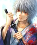 flower gintama haru_(toyst) japanese_clothes katana sakata_gintoki sheath sheathed silver_hair solo spider_lily sword weapon young