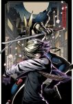 armor blonde_hair dual_persona dual_wielding enmto full_moon helmet high_contrast ivan_karelin jacket katana letterman_jacket moon multiple_boys origami_cyclone purple_eyes purple_jacket shuriken superhero sword tiger_&_bunny violet_eyes weapon