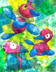 abstract_background bird creature no_humans omar pokemon pokemon_(creature) porygon porygon-z porygon2 traditional_media