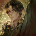 1boy black_hair hand_on_shoulder jacket levi_(shingeki_no_kyojin) realistic shingeki_no_kyojin zbxx