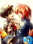 angry arguing black_hair croconaw gold_(pokemon) grey_eyes hat highres holding multiple_boys pokemon pokemon_(game) pokemon_hgss quilava red_eyes red_hair redhead sa-dui signature silver_(pokemon) sweatdrop team_rocket team_rocket_grunt watermark yellow_eyes