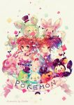 1girl brown_eyes brown_hair clavies emolga hat holding holding_poke_ball kyouhei_(pokemon) long_hair mei_(pokemon) minccino munna oshawott poke_ball pokemon pokemon_(game) pokemon_bw2 pokemon_trainer reuniclus signature simple_background snivy tepig title_drop top_hat