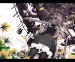 animal arm_behind_back black_legwear bloomers blue_eyes crown dress fish flower flowers flying_fish from_below green_eyes grey_eyes grey_hair letterboxed original outstretched_arm pantyhose petals short_hair short_sleeves solo torigoe_takumi traffic_light