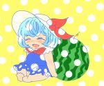 ^_^ baby barefoot blue_dress blue_hair child closed_eyes dress eyes_closed hat kamishirasawa_keine komaku_juushoku open_mouth short_hair smile solo touhou watermark young
