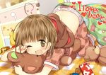 ;d ahoge bear_panties bear_print blush brown_hair english gag_manga_biyori hanabana_tsubomi kumakichi_(character) looking_at_viewer open_mouth original pajamas panties print_panties short_hair smile solo under_covers underwear wink